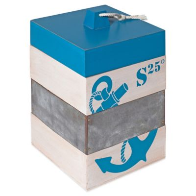 Nautical Anchor Storage Box in Blue