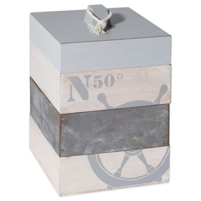 Nautical Ship Wheel Storage Box in Grey
