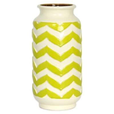 11-Inch Chevron Ceramic Vase in Green and Cream