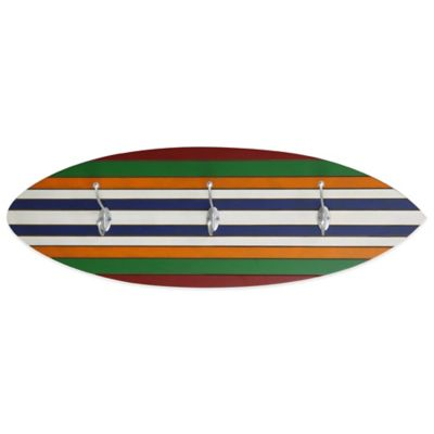 Wooden Surf Board Wall Towel Hook in Multi