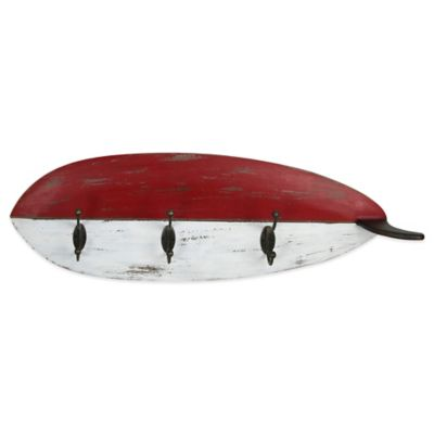 Red & White Wooden Wall Hanging Surf Board Towel Hook