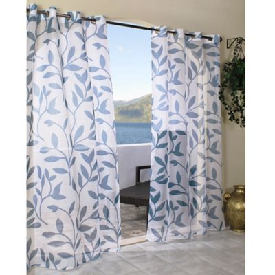 Escape 96-Inch Grommet Top Sheer Leaf Print Window Curtain Panel in Blue
