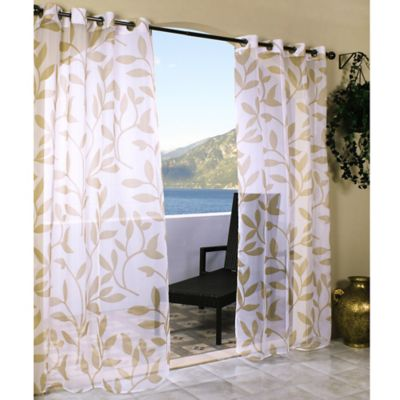 Commonwealth Home Fashions Escape 84-Inch Grommet Top Sheer Leaf Print Window Curtain Panel in Khaki