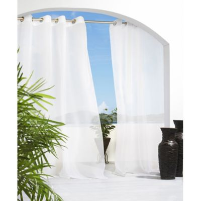 Cote d' Azure 84-Inch Grommet Top Semi-Sheer Indoor/Outdoor Window Curtain Panel in White