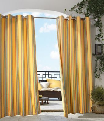 Gazebo Stripe 84-Inch Grommet Top Window Curtain Panel