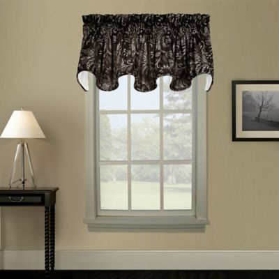 Pargo Window Curtain Scallop Valance in Black
