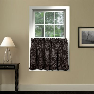 Pargo 24-Inch Window Curtain Tier Pair in Black