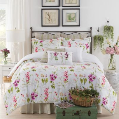 New York Botanical Gardens Liana Queen Comforter Set in White
