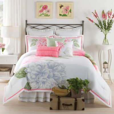 New York Botanical Gardens Peony Bloom Twin Comforter Set in Pink/Green