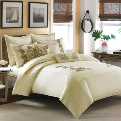 Tommy Bahama® Embroidered Botanical Full/Queen Duvet Cover in Ivory