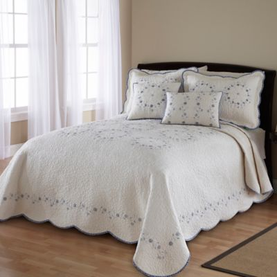 Ivory Blue Delphine Bedspread