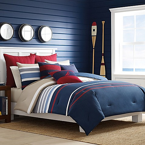 Nautica Bradford Duvet Cover Set In Navy Red