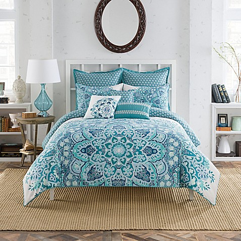 Anthology Kaya Reversible Comforter Set In Blue Bed