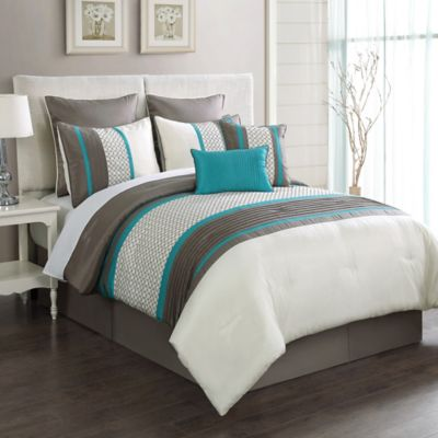 Aruba 8-Piece King Comforter Set in Turquoise