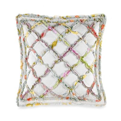 Laura Ashley® Ruffle Garden Square Throw Pillow in White/Multi