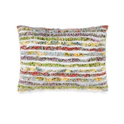 Laura Ashley® Ruffle Garden Oblong Throw Pillow in White/Multi
