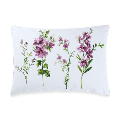 New York Botanical Gardens Liana Floral Oblong Throw Pillow in White