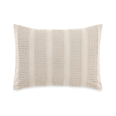 Laura Ashley Bracken Leaf Woven Oblong Throw Pillow in Taupe