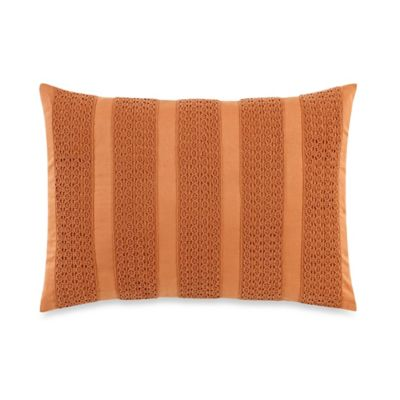Laura Ashley Bracken Leaf Striped Oblong Throw Pillow in Orange