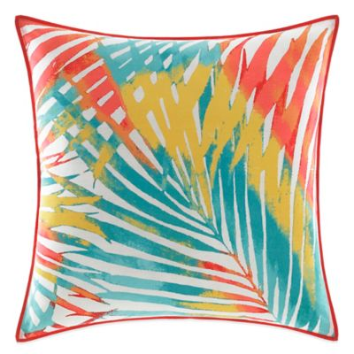 Teen Vogue® Electric Beach Palm Leaf Square Throw Pillow in Coral