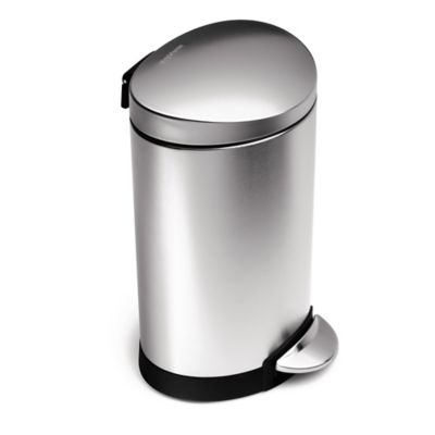 simplehuman® Brushed Stainless Steel Fingerprint-Proof 6-Liter Semi-Round Step Can
