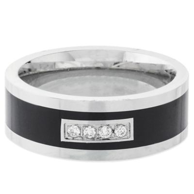Fiero White and Black Cobalt .06 cttw Diamond Size 10.5 Men's Comfort-Fit Wedding Band
