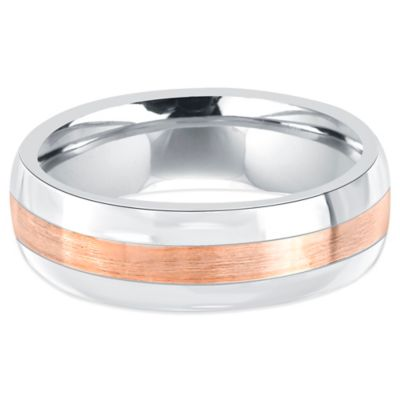 Fiero Stainless Steel and 14K Rose Gold Brushed Center Size 7.5 Men's Comfort-Fit Wedding Band