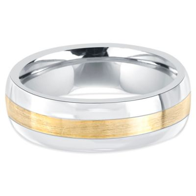 Fiero Titanium and 14K Yellow Gold Brushed Center Size 11 Men's Wedding Band