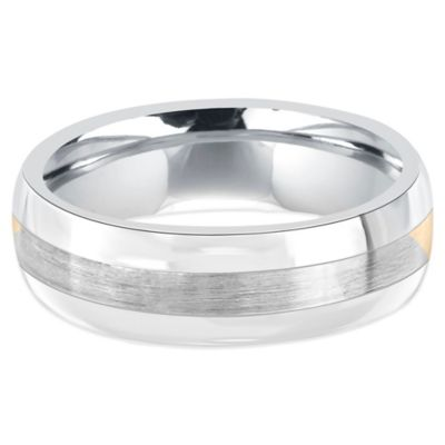 Fiero Stainless Steel and 14K White Gold Brushed Center Size 7 Men's Comfort-Fit Wedding Band