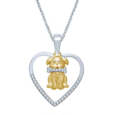 Sterling Silver and Yellow Gold-Plated .11 cttw Diamond Heart and Dog Silhouette Pendant Necklace