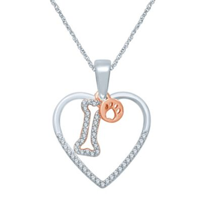 Sterling Silver and Rose Gold-Plated .17 cttw Diamond Heart and Bone Charm Pendant Necklace