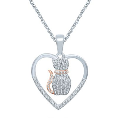 Sterling Silver and Rose Gold-Plated .17 cttw Diamond Heart and Cat Silhouette Pendant Necklace