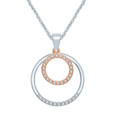 Sterling Silver and 10K Rose Gold .17 cttw Diamond Double-Circle Pendant Necklace