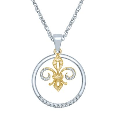 Sterling Silver and 10K Yellow Gold .10 cttw Diamond Circle and Fleur de Lis Pendant Necklace