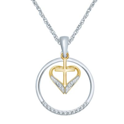 Sterling Silver and 10K Yellow Gold .08 cttw Diamond Circle and Heart Cross Pendant Necklace