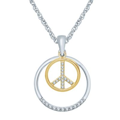 Sterling Silver and 10K Yellow Gold .14 cttw Diamond Circle and Peace Sign Pendant Necklace