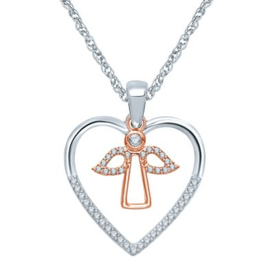 Sterling Silver and 10K Rose Gold .14 cttw Diamond Heart and Angel Pendant Necklace