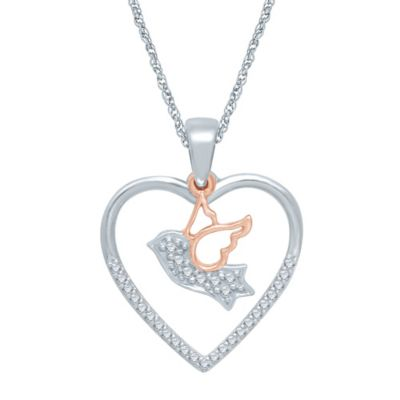 Sterling Silver and 10K Rose Gold .14 cttw Diamond Heart and Dove Pendant Necklace