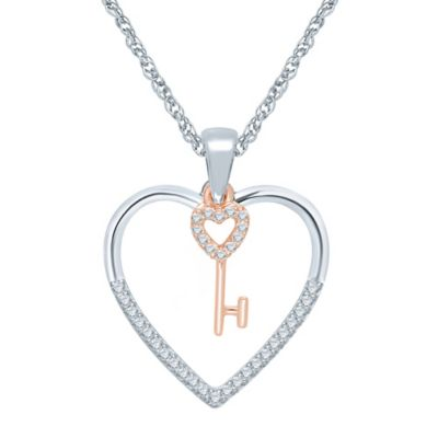 Sterling Silver and 10K Rose Gold .14 cttw Diamond Heart and Key Pendant Necklace