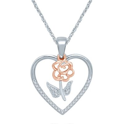 Sterling Silver and 10K Rose Gold .10 cttw Diamond Heart and Flower Pendant Necklace