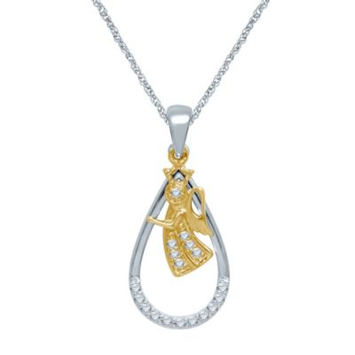 Sterling Silver and 10K Yellow Gold .10 cttw Diamond Teardrop and Angel Pendant Necklace
