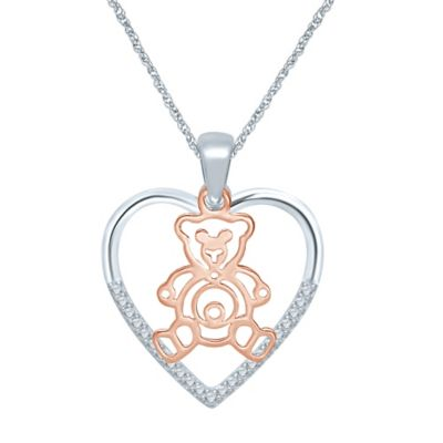 Sterling Silver and 10K Rose Gold .10 cttw Diamond Heart and Teddy Bear Pendant Necklace
