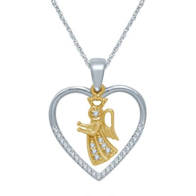 Sterling Silver and 10K Yellow Gold .12 cttw Diamond Heart and Angel Pendant Necklace