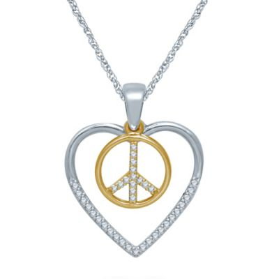 Sterling Silver and 10K Yellow Gold .12 cttw Diamond Heart and Peace Sign Pendant Necklace