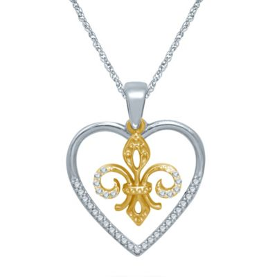 Sterling Silver and 10K Yellow Gold .12 cttw Diamond Heart and Fleur de Lis Pendant Necklace