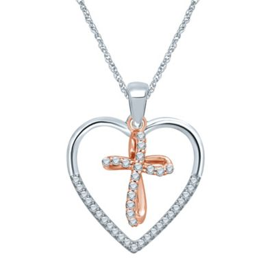 Sterling Silver and 10K Rose Gold .20 cttw Diamond Heart and Ribbon Cross Pendant Necklace