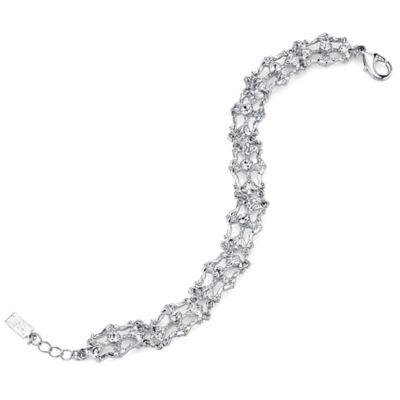 Silvertone Crystal Link Bracelet