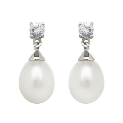 Sterling Silver Created White Sapphire and Freshwater Cultured Pearl Drop Earrings