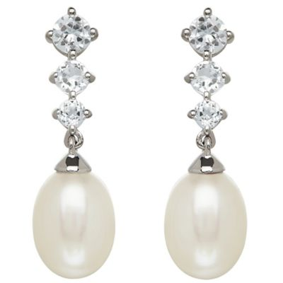 Sterling Silver White Topaz and Freshwater Cultured Pearl Graduated Drop Earrings
