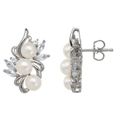Sterling Silver Created White Sapphire and Freshwater Cultured Pearl Cluster Stud Earrings